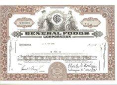 General Foods Corporation Stock Certificate