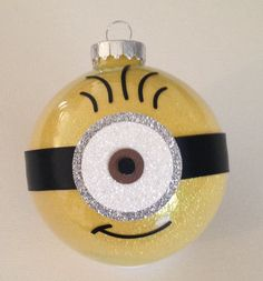 Minion Christmas Glitter Ornament 3.25 Glass Ball    I will make this and mail it to you within 5 business days of payment being received.