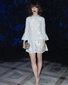 Lily Collins wearing Valentino in Paris. Styled by #RandM.