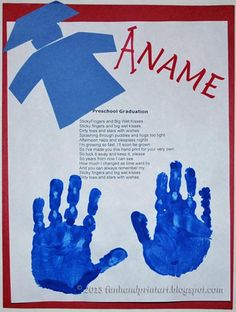 Graduation Poem with Handprints Keepsake