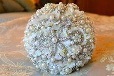 Swarovski crystal bouquet or pearl/rhinestone bouquet? :  wedding bouquet brooch crystals flowers .jpg
