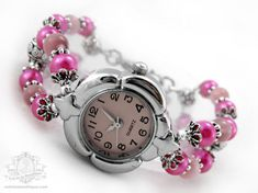 Blossom Pink Bracelet Wrist Watch  pink by OohlalaBeadtique, $22.00