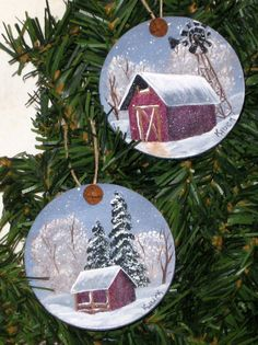 RESERVED Winter Barn Set of Wooden Ornaments by KathysKountry