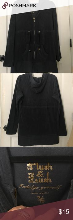 VICTORIA'S SECRET STRETCH TERRY BEACH COVERUP Like new, this beautifully made Navy hooded  coverup has brass colored zip front and ties under bust as well . I never wore this it's just been in my closet forever,, like new condition and VS quality Victoria's Secret Swim Coverups