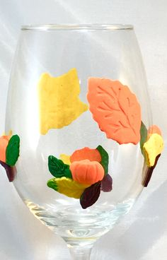 Hand Crafted Clay Autumn Leaves and Pumpkins Wine Glass  http://handpainted-glasses.com/shop/claypumpkins