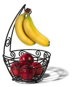 Spectru Scroll Fruit Storage Kitchen Counter Basket Banana Bowl Hook Hanger. Keep healthy snacks handy with this beautiful Scroll Fruit Tree and Bowl. Made of metal with a black finish, this fruit bowl can serve many purposes in the kitchen. Tree offers convenient hanging storage for bananas or grapes, protecting them from bruising. Provides sufficient airflow to help fruit ripen and stay fresher longer. Spectrum is a company that does the small stuff great! Heavy duty steel construction…