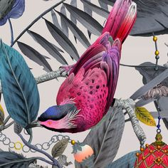 Detail from Ecclesiastical Botanica wallpaper Bird Wallpaper, Painting Wallpaper, Beautiful Wallpaper, Surface Pattern Design, Tropical Flowers, Pet Portraits, Beautiful Birds, Cool Art, Gallery