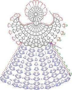 Tricô e Crochê - Knitting and Crochet: Enfeite de Natal em Crochet - Anjo Natalino Crochet Angel Pattern, Crochet Angels, Crochet Motifs, Crochet Diagram, Crochet Chart, Thread Crochet, Knit Crochet, Crochet Patterns, Knitting Patterns
