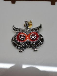 Blazing Owl Shape Pendant with Garnet Stone in 925 Sterling Silver for Women Necklaces & Chain, $39.99