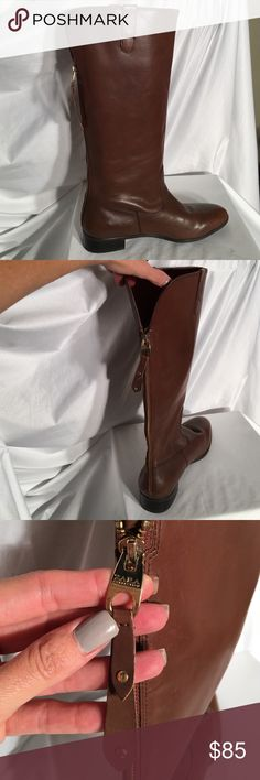 ❤️BUY ONE, GET ONE HALF OFF❤️clothes, shoes & jean Zara tall Brand New Cognac Brown fine leather boots with a split back and Gold zipper. Size 40 Zara Shoes