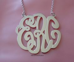 """1.25"""" tall Pendant: Personalized Monogram necklace or pendant necklace, sterling silver. $79.99, via Etsy."""