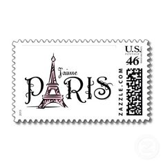 Shop J'aime Paris Postage created by pinkinkart. Bullet Journal Vintage, Paris Room Decor, French Typography, Paris Images, Art Deco Posters, White Prints, Journal Paper, Tampons, Shabby Vintage