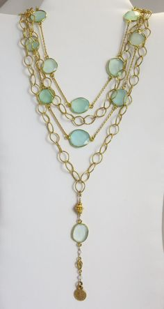 SeaFoam Green Chalcedony and HandHammered by LaurenMercedes, $365.00