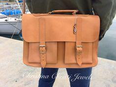Natural Color Leather Messenger Bag 15 inch by ChristinaChristiJls