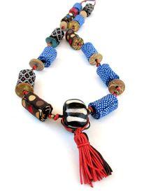 Boho chic - fabric beads necklace - Gilgulim