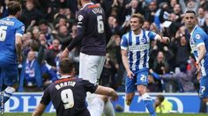 James Wilson scores Brighton's equalise in a 1-1 draw at home to derby County, which means to get automatic promotion they have to defeat Middlesbrough in their next game