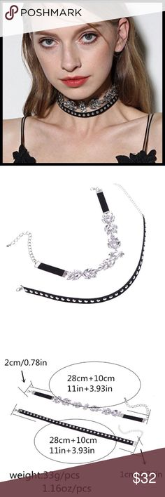 🆕 Double Layer Crystal Velvet Choker Necklace ➖ 2 separate chokers that match up together to make a fashionable choker necklace Jewelry Necklaces