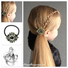 A lace braid into a side ponytail with a vintage look hair elastic from Goudhaartje.nl  #ponytail #lacebraid #sidebraid #braid #hairelastic #hairstyle #hairaccessories #staart #paardenstaart #vlecht #haarelastiek #haarstijl #haaraccessoires #mooihaar #langhaar #beautifulhair #longhair #goudhaartje