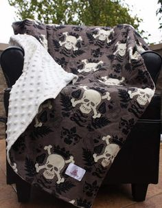Rocker Baby Stroller Blanket  Skully Cotton Print with by notybaby, $40.00