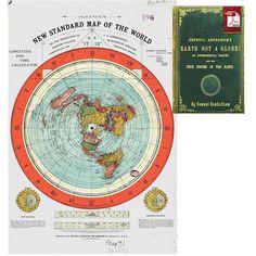 "Flat Earth Map - Gleason's New Standard Map Of The World - Large 24"" x 36"" Hi..."