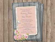 Shabby Chic, Vintage,Bird Cage, Rose, Wedding Invitation ,Rustic, Grey and Light Pink, Wood, Digital file, Printable on Etsy, $13.00