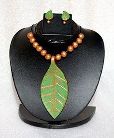 Anikalan Designs Multicolour Leaf Pendant Terracotta Necklace Set, http://www.junglee.com/dp/B00X7RMN3A/ref=cm_sw_cl_pt_dp_B00X7RMN3A
