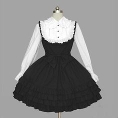 Ladies Sweet Black White Gothic Lace Ties Cosplay Lolita Dress Outfit Costume #Mefashion #LolitaDress #Clubwear