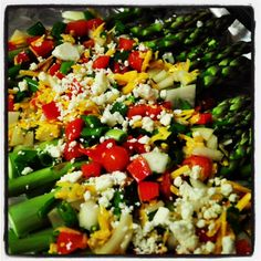 Roasted Tomato Asparagus with Feta & Garlic