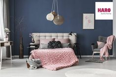 Buy White carpet on floor by bialasiewicz on PhotoDune. White carpet on floor in pastel bedroom with king-size bed against blue wall with simple painting Decor, Pink Bedrooms, Blue And Pink Bedroom, White Carpet, Pink Bedroom, Bedroom Inspirations, Room Colors, Blue Bedroom, Bedroom Decor