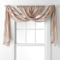 "daisy fuentes Gold Dust Sheer Window Valance - 20 x 84 sara.. (this would be so easy to DIY so much more inexpensive than ""Swags-Tails""..."