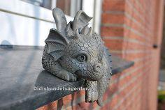 Drache Kantenhocker Gartenfigur Dekoration Standfigur Tierfigur Figur