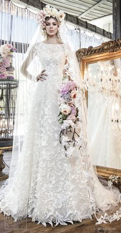 """Yumi Katsura Spring 2019 Wedding Dresses """"Life Is A Garden"""" Bridal Collection - HAYLEY wedding dress WITH cathedral VEIL 