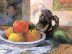 Paul Gauguin, Still Life with Apples, a Pear, and a Ceramic Portrait Jug
