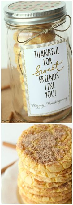 Batter Snickerdoodles Super cute Cookie Gift with free printable tags for every occasion! { }Super cute Cookie Gift with free printable tags for every occasion! Cookie Gifts, Food Gifts, Craft Gifts, Diy Gifts, Thanksgiving Gifts, Diy Christmas Gifts, Holiday Gifts, Christmas Quotes, Homemade Christmas