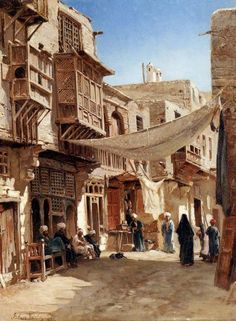 [Egypt ▪ Old Cairo Paintings: John Varley (British, 1778 - ~ A Street In Boulaq Near Cairo, Carl Spitzweg, Empire Ottoman, Arabian Art, Old Egypt, Cairo Egypt, Arabian Nights, Egyptian Art, North Africa, Islamic Art