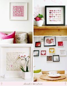 Oh such a cute idea! Love folded heart card stock in a shadow box frame. Great bathroom art project...