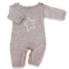 Granny's knitwear - Natural white baby toddler playsuit, 100% alpaca wool - Mamy Factory
