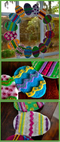 Felt Easter Egg Wreath, SO CUTE and fast to make.  colorful too!