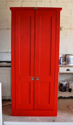 Swedish Style Grocery Cupboard in Signal Red - Milestone Kitchens