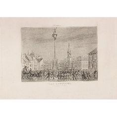 """Plac Zygmunta, tablica 1. z cyklu """"Powstanie"""", 1831 r."""