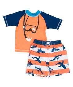 Look what I found on #zulily! Snorkel & Shark Rashguard Set - Infant, Toddler & Boys #zulilyfinds