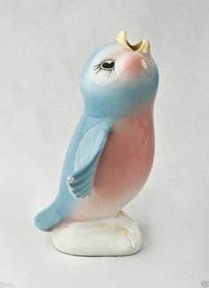 vintage ceramic BLUE BIRD figure PIE BIRD pie vent figurine