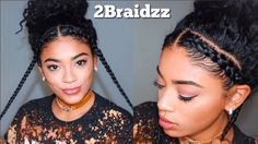 Natural Braided Hairstyles In 2020 Two Braid Hairstyles Natural Curly Hair Two Braid Hairstyles, Natural Braided Hairstyles, Sporty Hairstyles, Natural Braids, Trending Hairstyles, Cool Hairstyles, Black Hairstyles, Creative Hairstyles, Curly Hair Braids