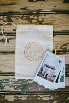 Southern-inspired packaging from Urban South Photo | muslin bags, stamps, mini clothespins and Polaroids