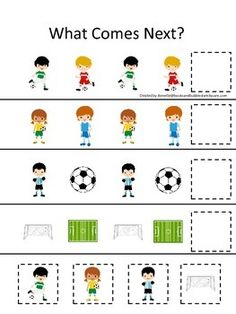 Soccer Sports themed What Comes Next preschool educational learning game - SPOR - Soccer Theme, Soccer Sports, Educational Games For Preschoolers, Learning Games, Learning Centers, Preschool Curriculum, Preschool Math, Preschool Worksheets, Special Education