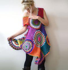 Crochet Retro Dress/Tunic by subrosa123 on Etsy
