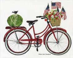 Melissa Shirley Designs | Hand Painted Needlepoint | 4th of July Bike © Mary Lake Thompson
