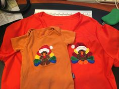 """Matching turkey shirts for Youngest daughter and grandson at Thanksgiving to celebrate the handoff of the """"youngest in the family"""" title."""