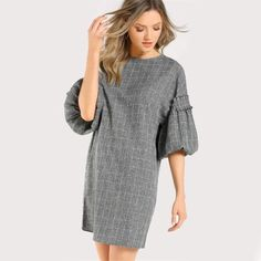 Plaid Lantern Sleeve Dress