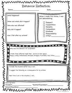 Behavior Reflection Sheet Students Need To Be Involved In